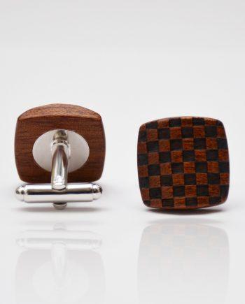 Drevené manžetové gombíky balance - mahagón šachovnica