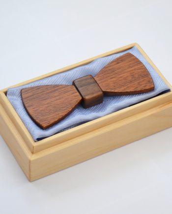 Drevený motýlik plochý special – mahagón/orech