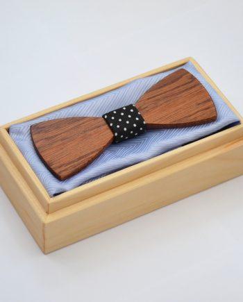 Drevený motýlik plochý - mahagón