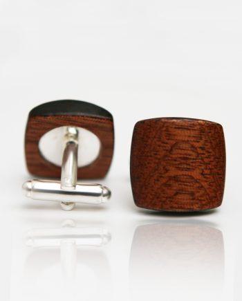 Drevené manžetové gombíky balance - mahagón/čierny okraj