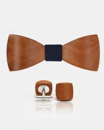 Drevený set - tvarovaný motýlik a manžetové gombíky balance - hruška