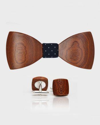 Drevený set - tvarovaný motýlik a manžetové gombíky balance - mahagón