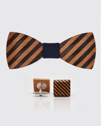 Drevený set - tvarovaný motýlik a manžetové gombíky elegance - hruška šrafy