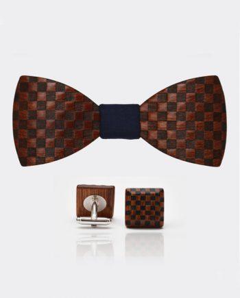Drevený set - tvarovaný motýlik a manžetové gombíky elegance - mahagón šachovnica