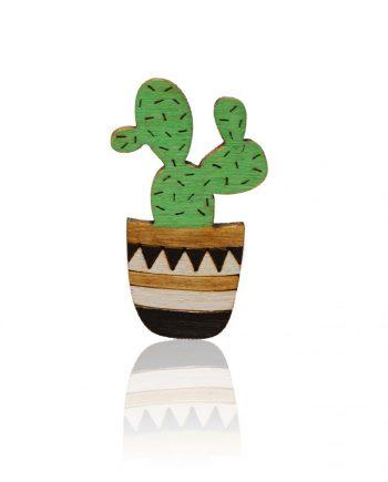 Drevená maľovaná brošňa - Kaktus Čierny