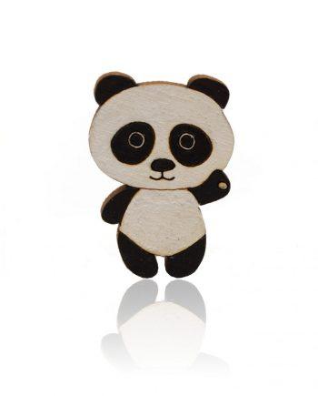 Drevená maľovaná brošňa - Panda