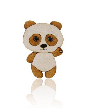 Drevená maľovaná brošňa - Panda Hnedá