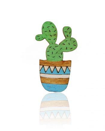 Drevená maľovaná brošňa - Kaktus Modrý