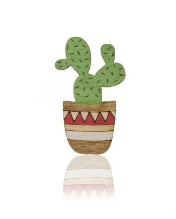 Drevená maľovaná brošňa - Kaktus Červený