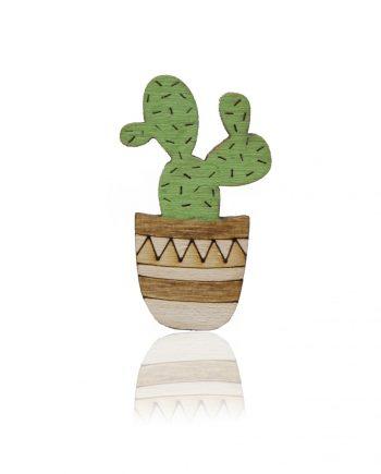 Drevená maľovaná brošňa - Kaktus Biely