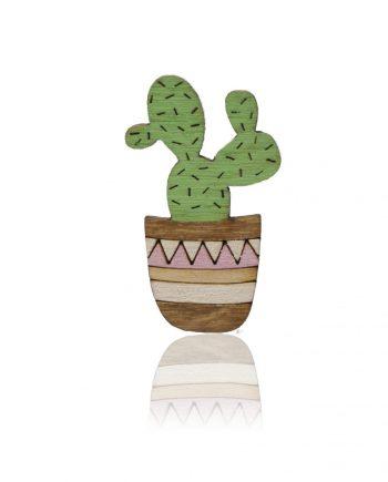 Drevená maľovaná brošňa - Kaktus Ružový