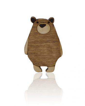 Drevená maľovaná brošňa - Medveď