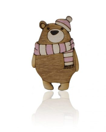 Drevená maľovaná brošňa - Medveď s ružovým šálom