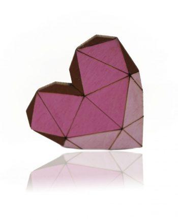 Drevená maľovaná brošňa - Srdce ružové