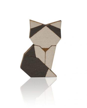 Drevená maľovaná brošňa - Líška Sivá