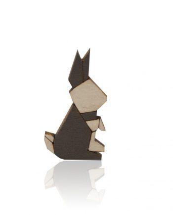Drevená maľovaná brošňa - Zajac Sivý