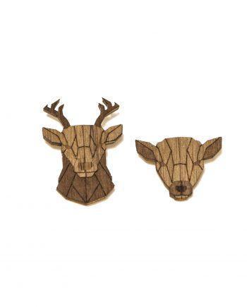 Set drevených brošní Jeleň a Laň Dark