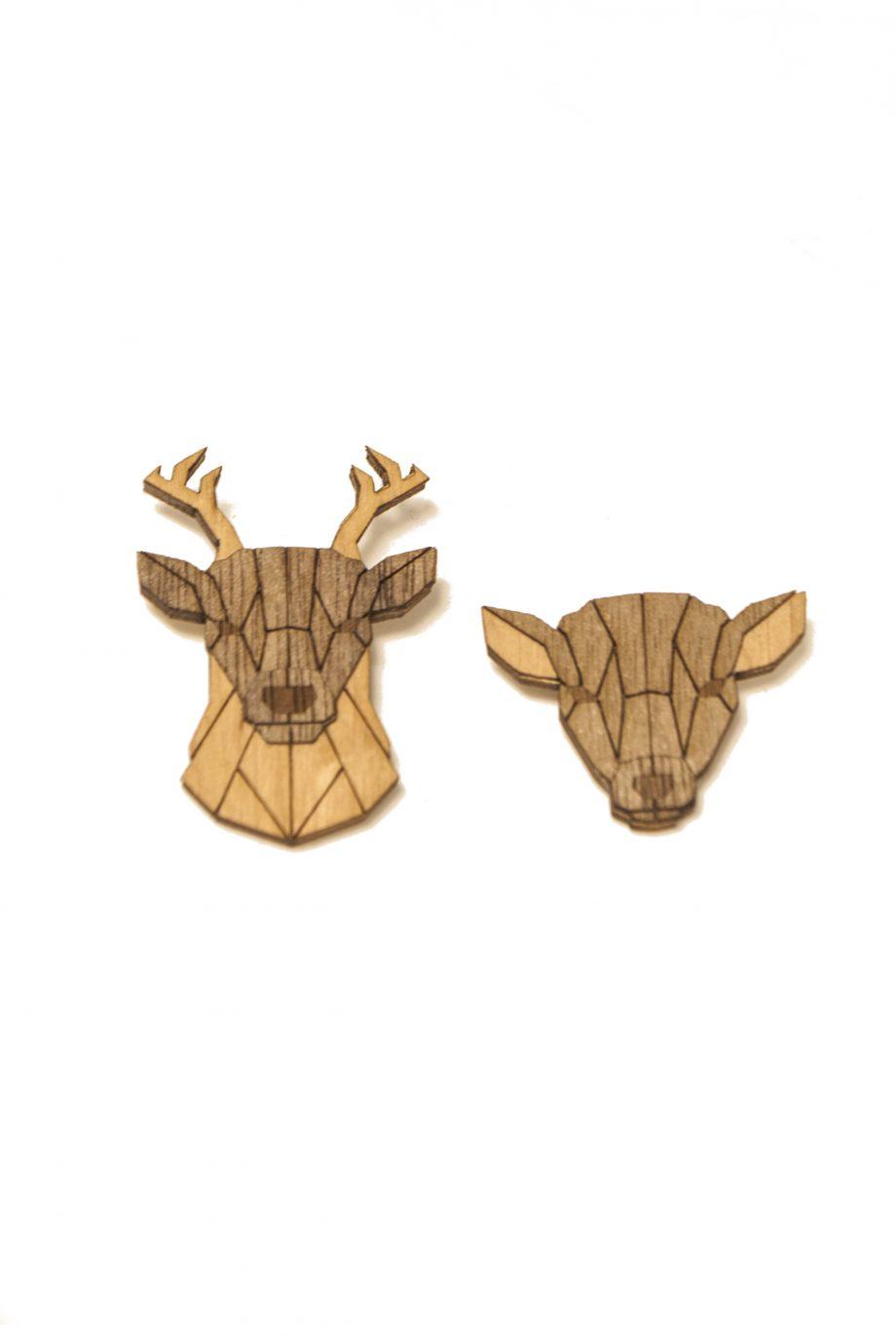 Set drevených brošní Jeleň a Laň