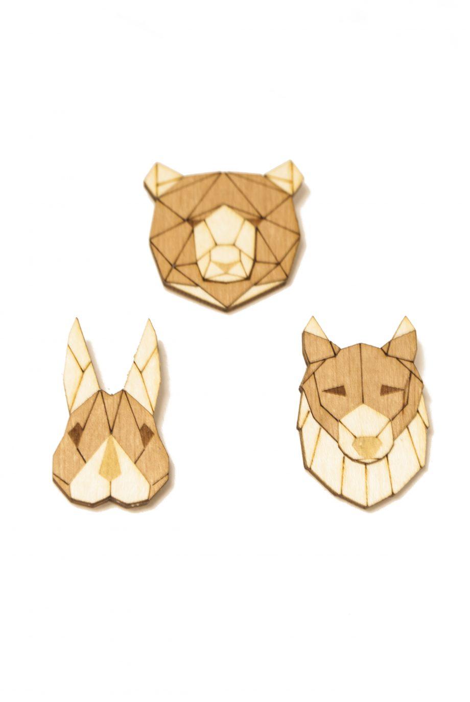 Set drevených brošní Medveď, Vlk a Zajac Pale