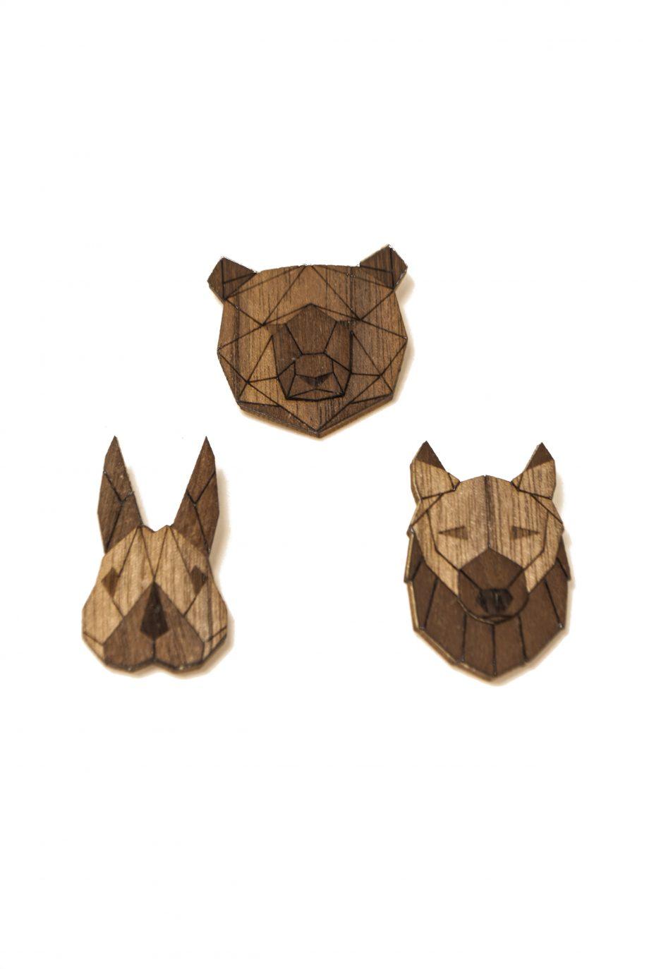 Set drevených brošní Medveď, Vlk a Zajac Dark