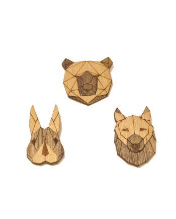 Set drevených brošní Medveď, Vlk a Zajac