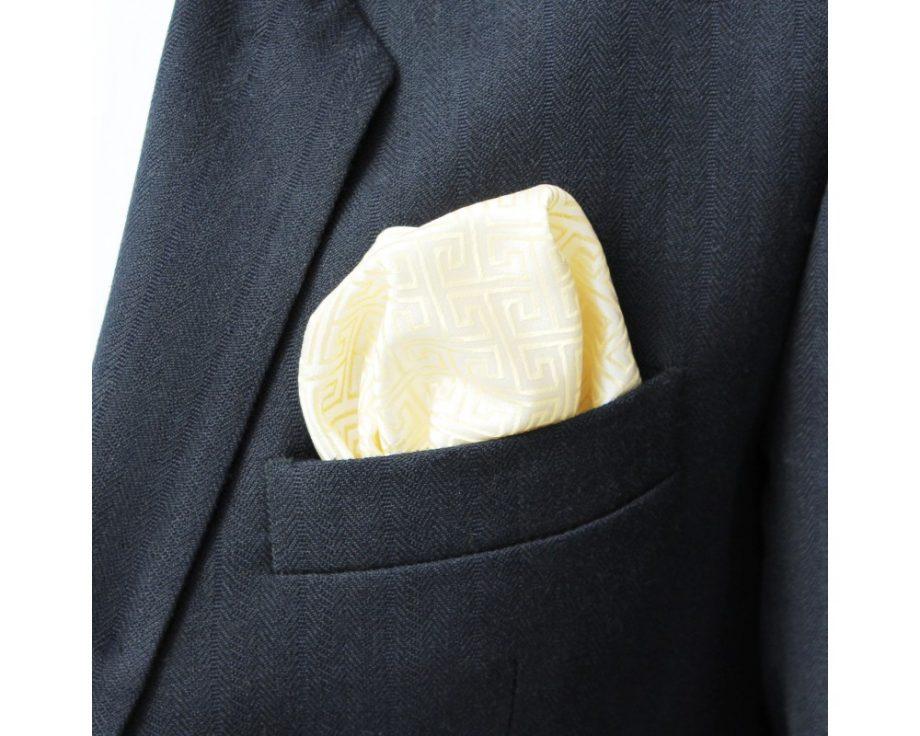 Látková vreckovka do saka - brokátová ivory