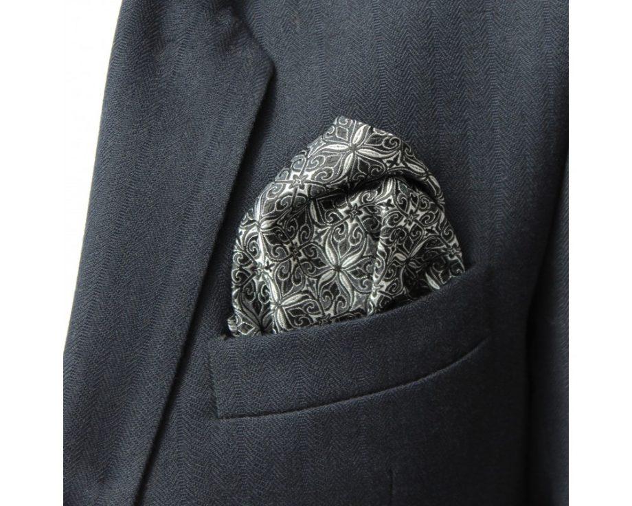 Látková vreckovka do saka - brokátová onyx