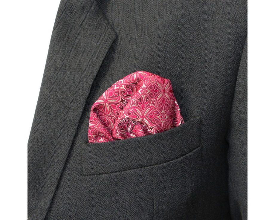 Látková vreckovka do saka - brokátová rubellite