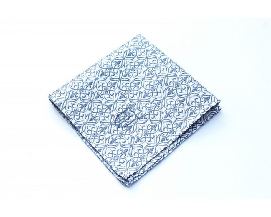 Látková vreckovka do saka - brokátová silver