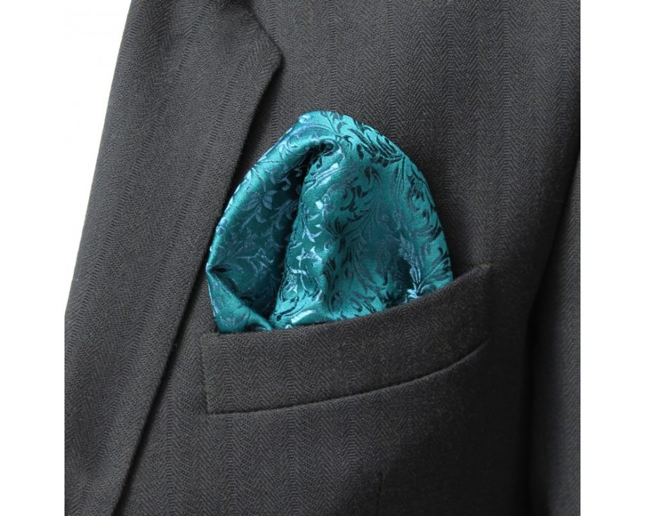 Látková vreckovka do saka - brokátová zircon