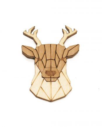 Drevená brošňa - Jeleň Pale
