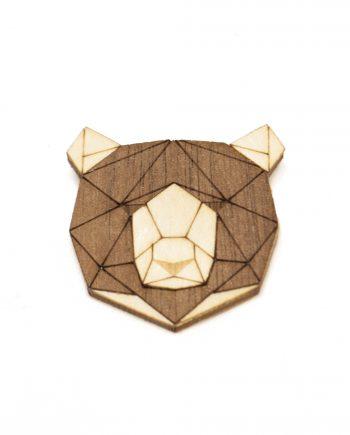 Drevená brošňa - Medveď 2