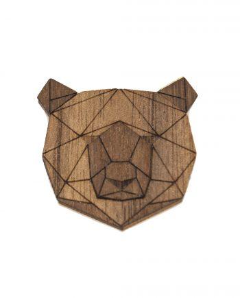 Drevená brošňa - Medveď Dark