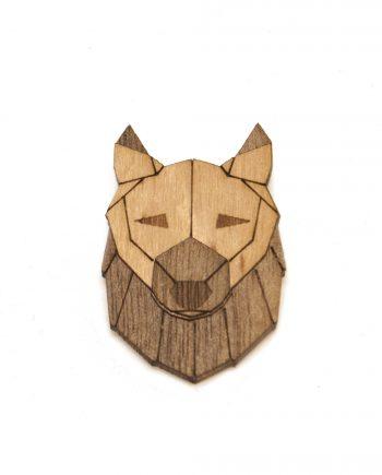 Drevená brošňa - Vlk