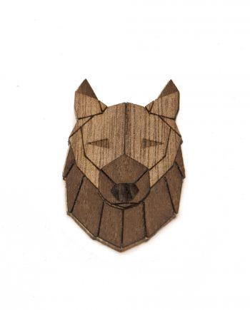 Drevená brošňa - Vlk Dark