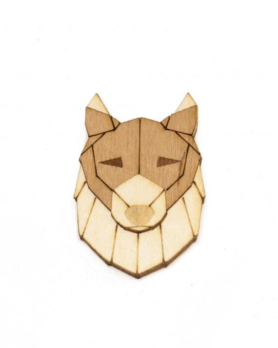 Drevená brošňa - Vlk Pale