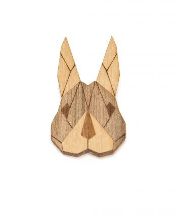Drevená brošňa - Zajac