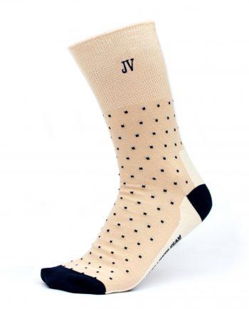 Ponožky s monogramom béžové s bodkami