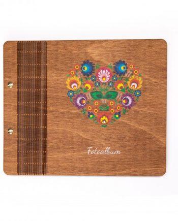 Drevený farebný fotoalbum - Heart