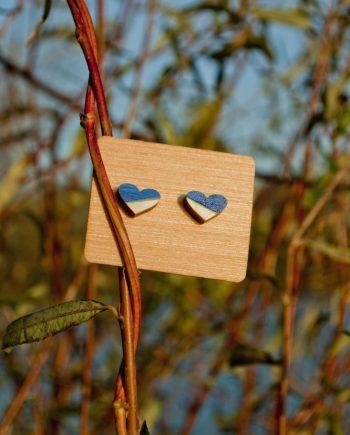 Drevené náušnice - Heart Minimal