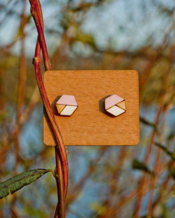 Drevené náušnice - Hexagon Minimal