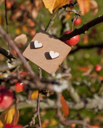 Drevené náušnice - Heart