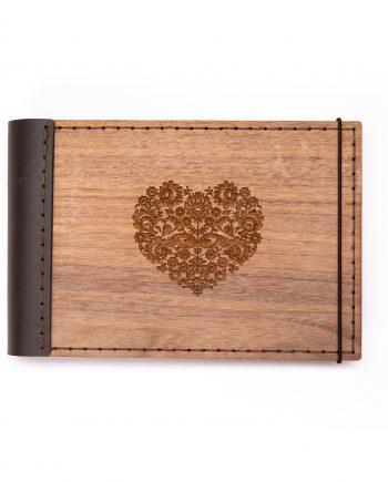 Luxsný drevený fotoalbum - orech mini